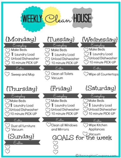 kitchen cleaning tips to do each day ad free printable weekly house cleaning list