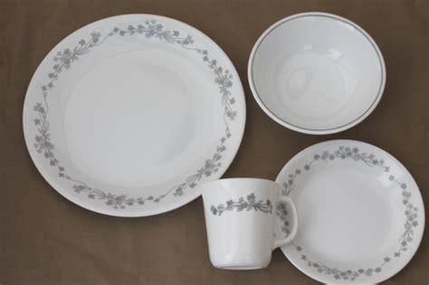 white pattern dinnerware corelle ribbon bouquet grey white floral pattern