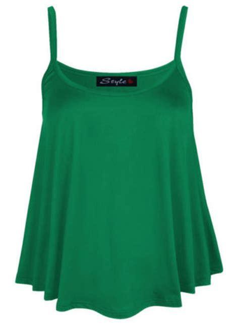 womens swing top new ladies womens plain swing vest sleeveless top strappy