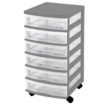 clear floor storage 6 drawers w wheels assorted