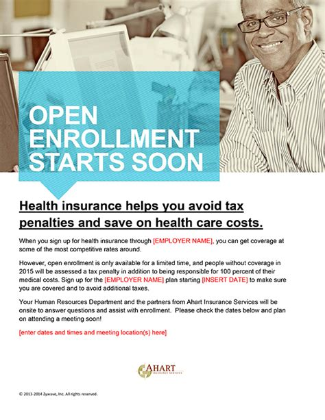 open enrollment flyer template ahart insurance services resources