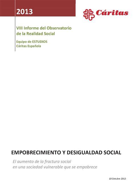 informe foessa 2013 desigualdad y derechos sociales informes sobre la pobreza en espa 241 a