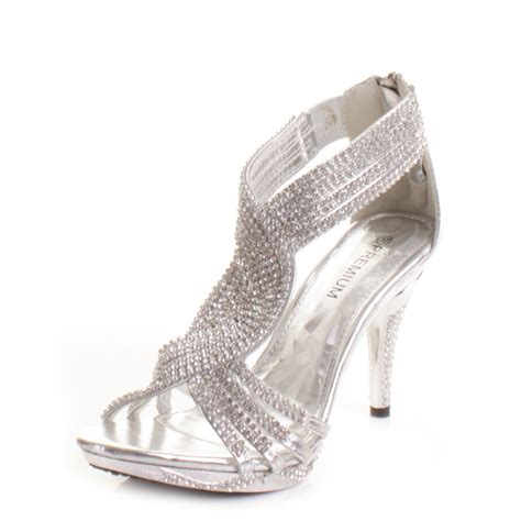 silver heels for wedding silver womens diamante wedding high heel prom shoes