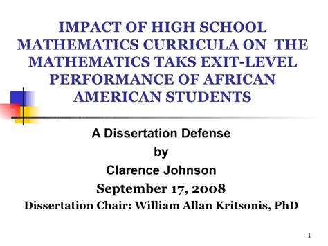 Clarence Johnson Phd Dissertation Defense Ppt Dr William Allan Kr Powerpoint For Dissertation Defense