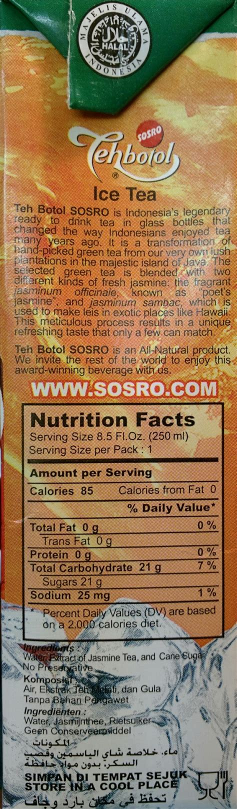 List Teh Botol Sosro tea less sugar teh botol 6 pack 8 fl