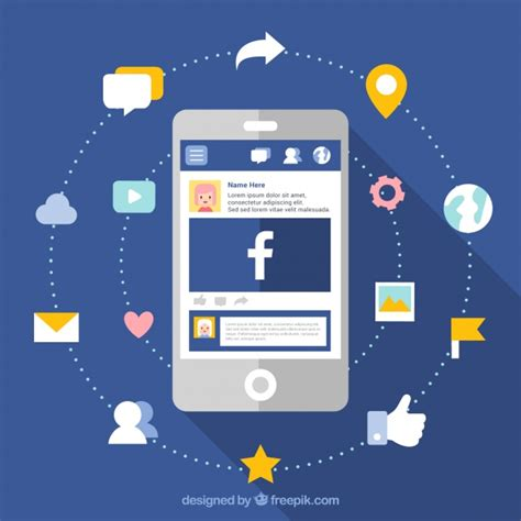 facebook layout vector free download facebook and mobile background in flat design vector