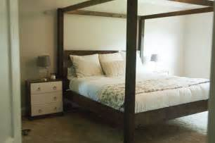 Diy Wood Canopy Bed Frame White Minimalist Rustic King Canopy Bed Diy Projects