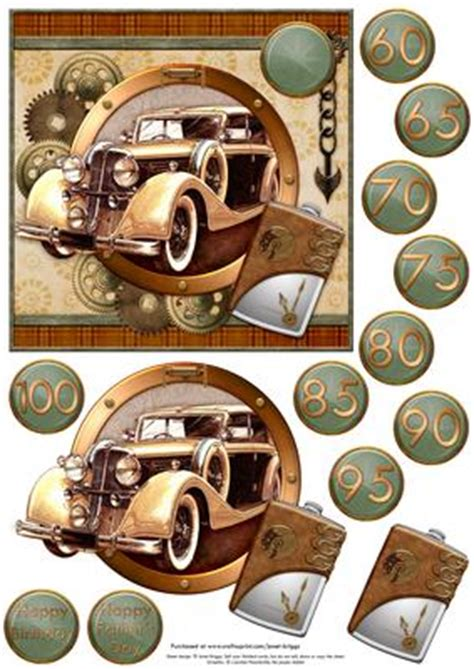 Decoupage Car - steunk brown gold car with ages topper decoupage on