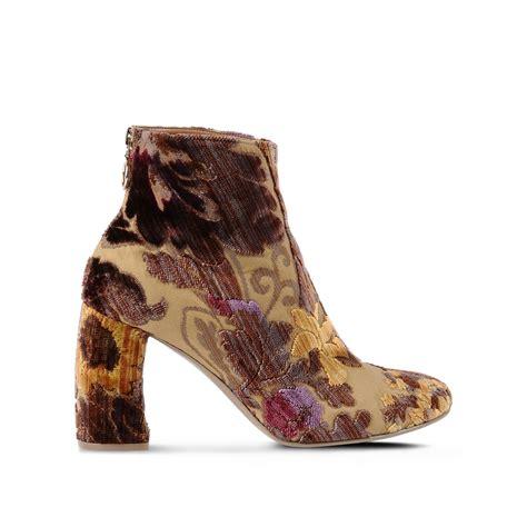 stella mccartney boots stella mccartney mustard brocade boots in brown lyst