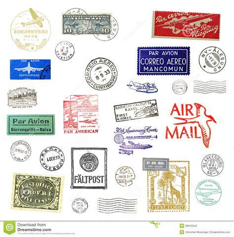printable airmail stickers vintage airmail labels and sts stock photo image
