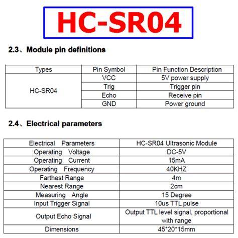hc sr04 ultrasonic distance sensor datasheet hc sr04 datasheet ultrasonic ranging detector sensor
