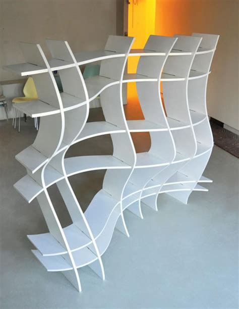 Funky Bookcases bizzare bookcase design with cool curved shelves
