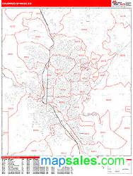 colorado springs colorado zip code wall map line