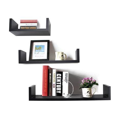 floating u shelves black floating wall shelf set of 3 u shape wall shelves