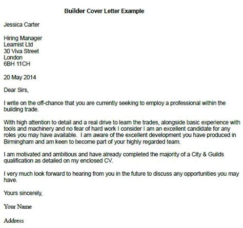 Cover Letter For A Builder Builder Cover Letter Exle Learnist Org