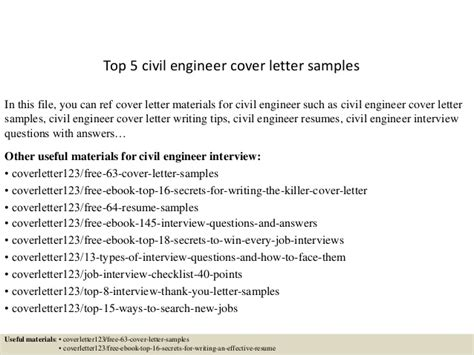 Cover Letter Research Engineer Top 5 Civil Engineer Cover Letter Sles