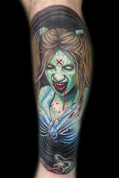 new school zombie girl tattoo zombie girl tattoo on leg