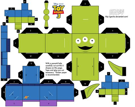 printable papercraft cubeecraft templates papercraft alien toy story paper