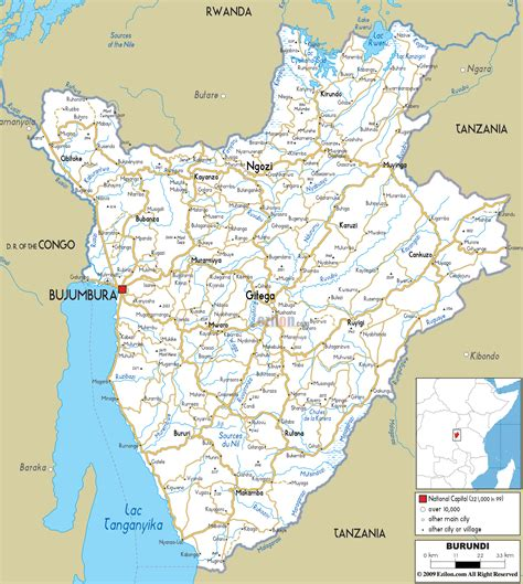 a clear africa map detailed clear large road map of burundi ezilon maps