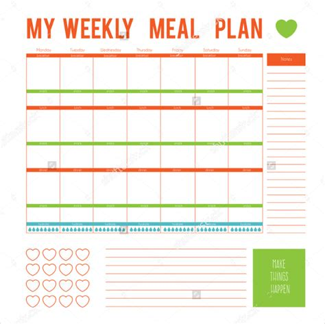 weekly meal planner template meal plan template 21 free word pdf psd vector
