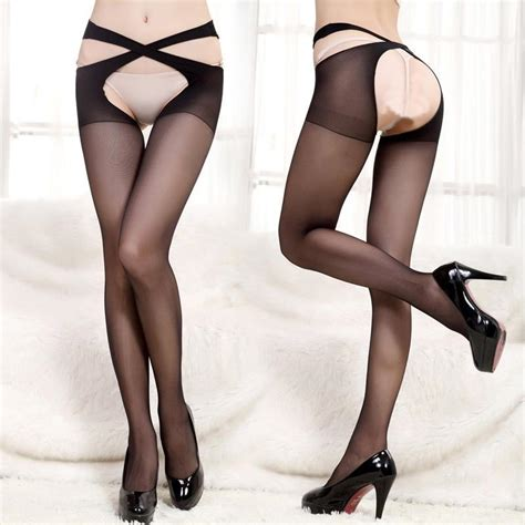 Crotchless Tights cross belt waist crotchless