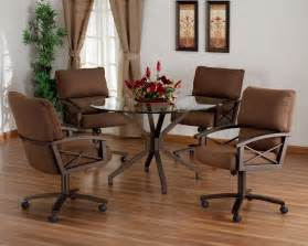 Elegant Round Dining Room Tables elegant dining room chair with casters and round glass dining table
