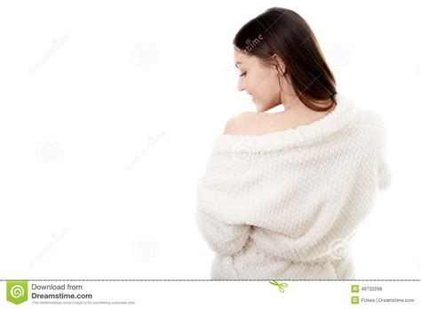 bathroom lady photo sexy young female in white bathrobe stock photo image