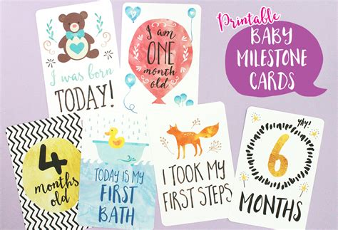 baby month card template printable baby milestone cards