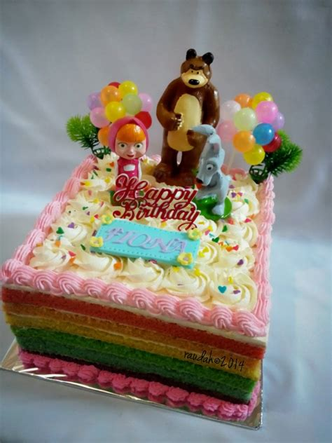 Cake Topper Birthday Topper Topper Kue Hiasan Kue Murah dapur cake dan cookies masha and the rainbow cake