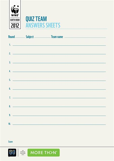 quiz sheet template wwf s earth hour pub quiz