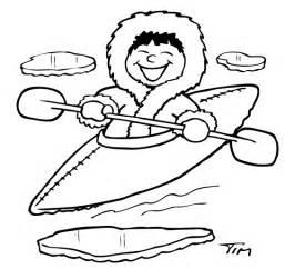 Esquimal En Kayak Para Colorear La Escuela sketch template