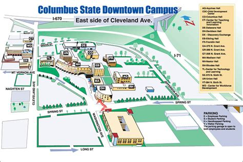 Columbus State Map by Columbus Campus Amp Parking Map Columbus State Community