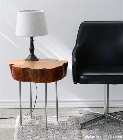 table legs made from pipe live edge tree slice side table with legs made of l