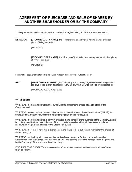 shareholder buyout agreement template agreement of purchase and sale of shares by shareholder
