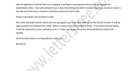 Purchase Order Renewal Letter A Purchase Order Letter Deals With Placing An Order About A Purchase To The Seller According To