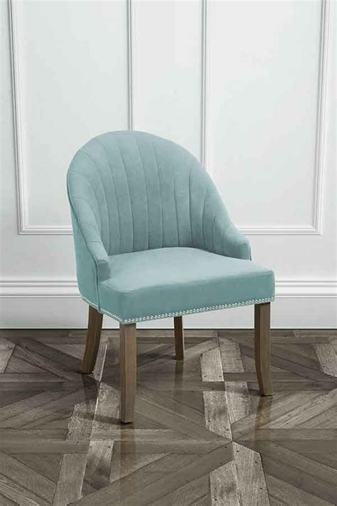 blue bedroom chair kariss chair in duck egg with stud detailing my furniture