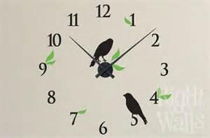 bird clock wall decals vinyl art stickers school clock wall sticker large funky wall clock sticker