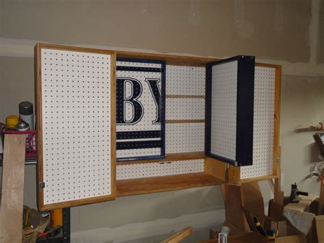 Garage Cabinets With Pegboard Wood Pegboard Cabinet Pdf Plans