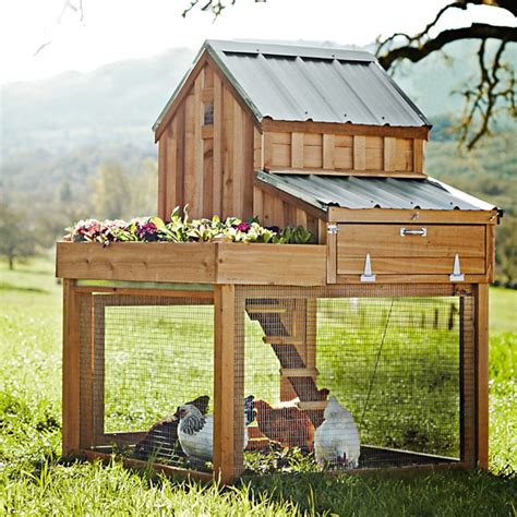 Cedar Chicken Coop Run With Planter by Cedar Chicken Coop Run With Planter From Williams Sonoma