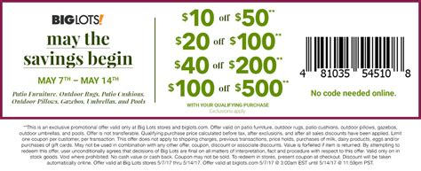 big lots 10 a 50 outdoor items purchase coupon