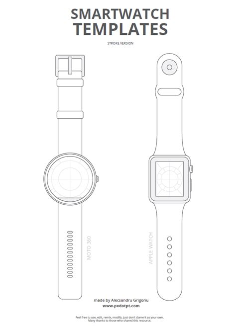 Freebie 2 Smartwatch Templates Pixels Dots And Points Of View Paper Wristband Template