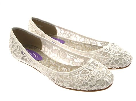 flat shoes for uk womens ivory lace ballet pumps flat bridal bridesmaid