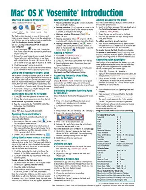 macos high introduction reference guide sheet of tips shortcuts laminated guide books book pdf free canada free mac os x yosemite