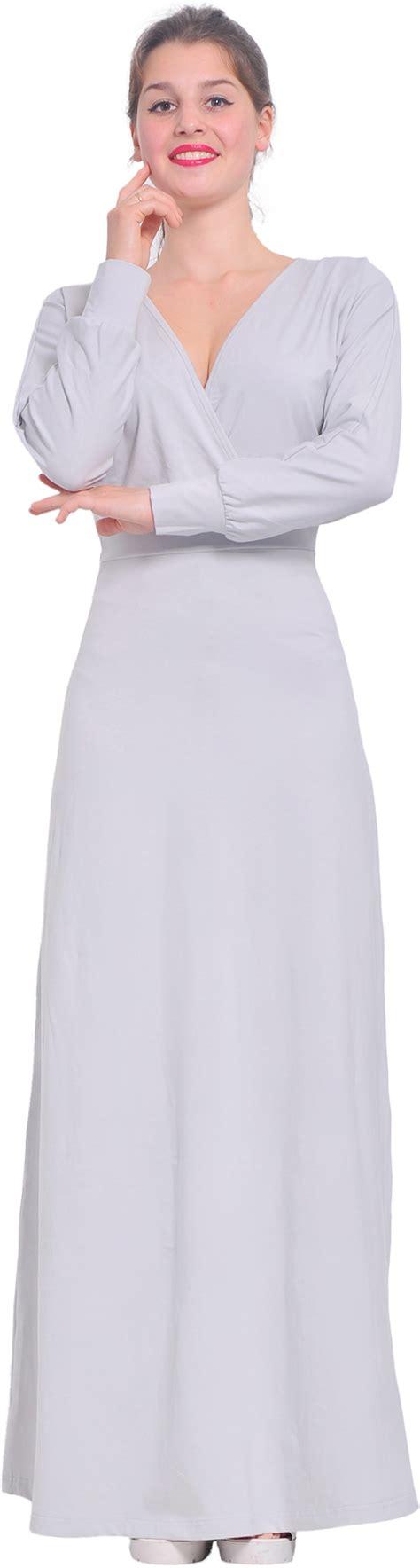 Floor Length Wrap Dress by Gray Womens Sleeve Maxi Floor Length Faux Wrap