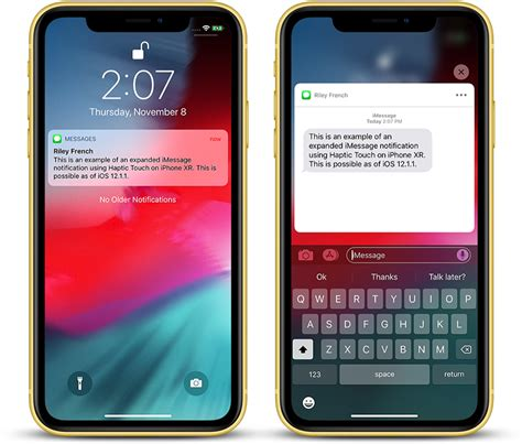 haptic touch will work with notifications on iphone xr in ios 12 1 1 macrumors