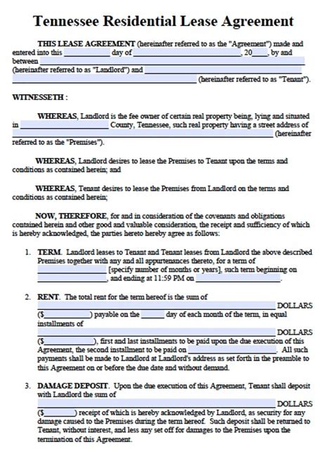 12 month lease agreement template free tennessee residential lease agreement form pdf template