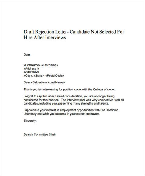 Draft Decline Letter 12 polite rejection letter free sle exle format