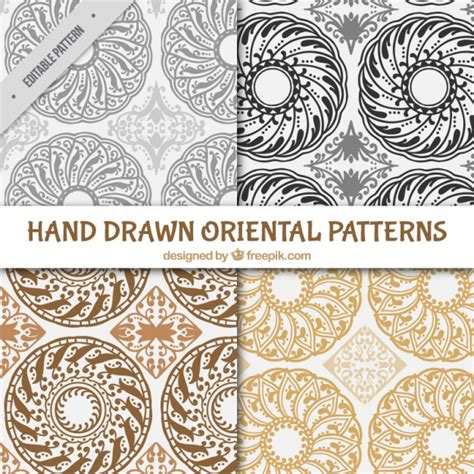 oriental pattern ai four hand drawn oriental patterns vector free download