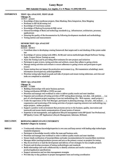 test qa analyst resume sles velvet