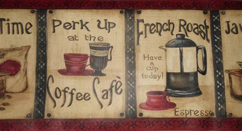 coffee shop wallpaper borders coffee cafe java time french roast wallpaper border 15 x